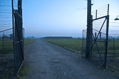 Entrance gate at Auschwitz-Birkenau, which leads to the barracks where Anne Frank was probably caught. Royalty Free Stock Photos