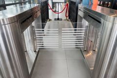 Entrance gate card access security system. In station Stock Photos