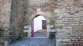Entrance gate of the castle of Alandroal town. District of Evora, Portugal stock video footage