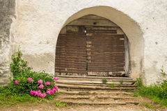 Entrance gate of the fortified church of Viscri Stock Image
