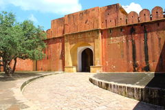 Entrance gate of Jaigarh Fort,Jaipur. Jaigarh Fort situated on the edge of Aravali range.The fort was built by Jai Singh II in 1726 to protect the Amber Fort Royalty Free Stock Photo