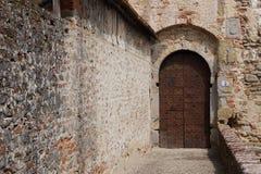 Entrance gate of medieval castle Castello Mediceo. Sansepolcro, Italy - August, 31st, 2017. Entrance gate of medieval castle Castello Mediceo Stock Photo