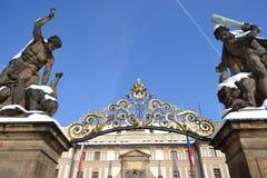 Entrance of Prague Castle Stock Photo