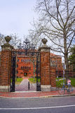 Entrance gate and Sever Hall in Harvard Yard in Cambridge Royalty Free Stock Photos