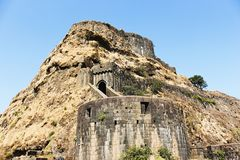Entrance gate and side view of Lohagad Fort, Pune district, Maharashtra, India.  royalty free stock photos