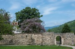 Entrance gate of Studenica monastery, 12th-century Serbian orthodox monastery located near city of Kraljevo stock photos