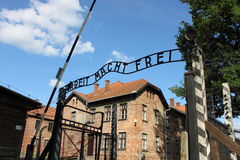 Entrance gate to Auschwitz concentration camp. Poland Stock Photography