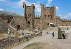 Entrance gate to the castle, fortress stock photography