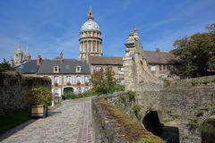 The entrance gate to the Castle Museum and the Basilica of Notre Dame in the background, Boulogne sur Mer, Cote d`Opale, Pas de Ca royalty free stock photography