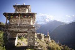 Entrance gate to Himalayas Manang village Royalty Free Stock Image