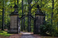 The entrance gate to the castle Stock Images