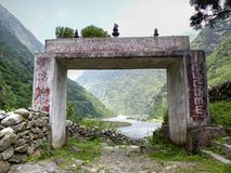 Entrance gate to Manang district Royalty Free Stock Photo