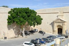Entrance gate to Mdina, a fortified medieval city in Malta. Mdina, Malta - 1 November 2017: Entrance gate to Mdina, a fortified medieval city in the Northern Stock Photography