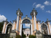 Entrance gate to the rococo castle Nove Hrady Royalty Free Stock Photography