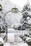 Entrance Gate to Snowy Park Royalty Free Stock Photo