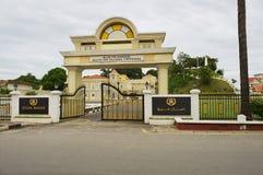 Entrance gate to the Sultan`s Palace Istana Maziah in Kuala Terengganu, Malaysia. KUALA TERENGGANU, MALAYSIA - SEPTEMBER 01, 2009: Exterior of the entrance gate Stock Photos