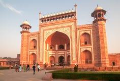 Entrance gate to Taj Mahal stock photo