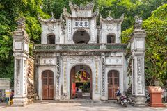 Entrance gate to Den Quan Thanh a Taoist temple in Hanoi stock photo