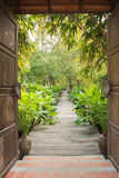 Entrance gate to tropical garden Royalty Free Stock Image