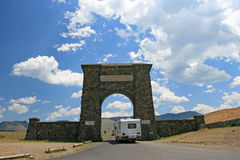 Entrance gate to Yellowstone National Park, Montana Royalty Free Stock Images