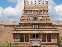 Ancient temple gateway in Tamil Nadu. The entrance gateway, or 'Gopuram', to the 12th century Airavatesvara Hindu temple complex at Darasuram in royalty free stock images