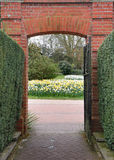 Entrance Gateway To A Vista Of Spring Flowers Royalty Free Stock Image