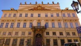 Entrance of German embassy in Prague stock photo