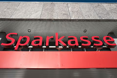 Entrance of a German Sparkasse Savings Bank Stock Photos