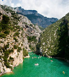 Entrance of the Gorges du Verdon. Where the Lac du Sainte-Croix flows into the Verdon river through the Gorges du Verdon Stock Photography