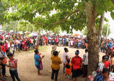 The Entrance of the Gospel in Papua Island. Crowdy people celebrating an annual big religious celebration in Manokwari, West Papua (5 February 2017). The 162th Royalty Free Stock Image