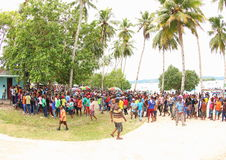 The Entrance of the Gospel in Papua Island. Crowdy people celebrating an annual big religious celebration in Manokwari, West Papua. The 162th years of Gospel in Royalty Free Stock Images