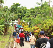 The Entrance of the Gospel in Papua Island. Crowdy people celebrating an annual big religious celebration in Manokwari, West Papua. The 162th years of Gospel in Stock Images