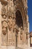 Entrance of the Gothic church of Santa Maria la Real, Aranda de. Detail of the portico of the Gothic church of Santa Maria la Real, Aranda de Duero, Burgos Stock Photo