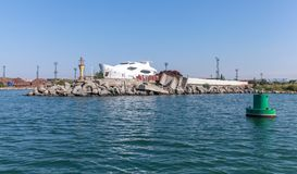 Entrance green buoy. Port of Burgas stock images