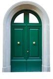 Entrance green door metal door. Royalty Free Stock Photo