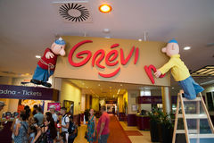 Entrance in Grevin museum of the wax figures in Prague. Royalty Free Stock Photo