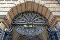 Entrance of Guidhall market in Bath, Somerset UK. Entrance of Guidhall market in Bath, Somerset, UK royalty free stock image