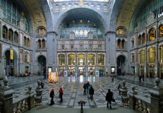 Entrance hall of the Antwerp Central train station stock images