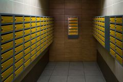 Entrance hall in an apartment building. Mailboxes in entrance hall of an apartment building. royalty free stock photography