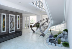 Entrance hall decorating ideas, 3d render. Artistic characteristics of modern interior design in conservative and elegance grey color Royalty Free Stock Image