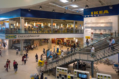 Entrance hall of IKEA retailer mall in Bangkok, Thailand. Bangkok, Thailand - OCTOBER 31: People shop at IKEA Bangkok Store on October 31, 2015 in Mega Bangna Stock Photo