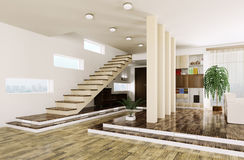 Entrance hall interior 3d render Royalty Free Stock Photography