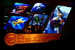 The hall of mobility items on display at iron man experience hall in disneyland hong kong stock photos