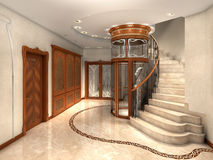 Entrance hall. Rendering of an art nouveau entrance hall Stock Photo