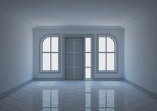 Entrance hall with semi-arched windows Royalty Free Stock Photo