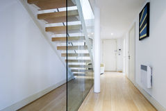 Entrance hall with staircase. Modern entrance hall with staircase and glass wall Royalty Free Stock Images
