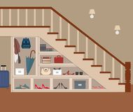 Entrance hall under the stairs. On the shelves are bags, shoes, umbrella, books, boxes and other objects. Vector flat illustration Stock Photography