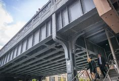 Entrance of High Line in New York, Manhattan Stock Photo