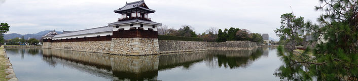 Entrance at Hiroshima castle with wall and water pond to protect Royalty Free Stock Images