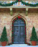 Entrance in Holiday Colors. Entrance to southern mansion, dressed up for the holidays royalty free stock images